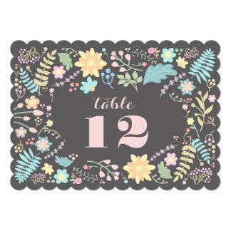 """Tarjetas románticas del número de la tabla del invitación 5"""" x 7"""""""