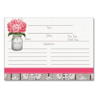 tarjetas rosadas brillantes de la receta del tarro