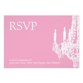 Tarjetas rosadas con clase de RSVP de la lámpara (