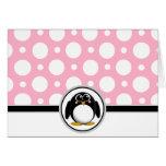 Tarjetas rosadas de encargo del lunar del pingüino