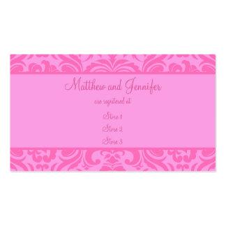 Tarjetas rosadas de encargo del registro de regalo tarjetas de visita