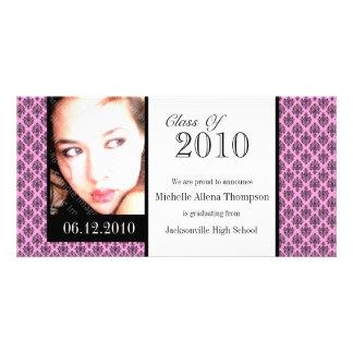 Tarjetas rosadas de la foto de la invitación de la tarjeta personal