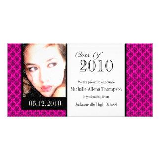 Tarjetas rosadas de la foto de la invitación de la tarjetas personales con fotos