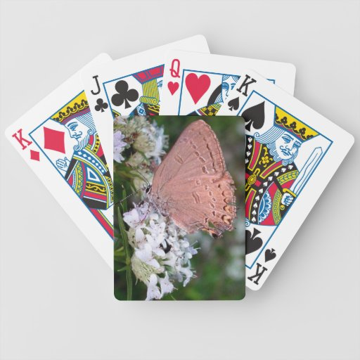 Tarjetas rosadas de la mariposa baraja de cartas