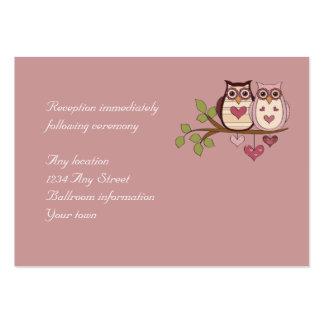 Tarjetas rosadas de la recepción nupcial de tarjetas de visita grandes