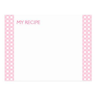 Tarjetas rosadas de la receta de la guinga postales