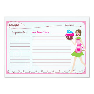 Tarjetas rosadas de la receta de la magdalena invitación 12,7 x 17,8 cm
