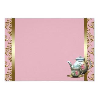 """Tarjetas rosadas de la receta de la taza de té del invitación 3.5"""" x 5"""""""