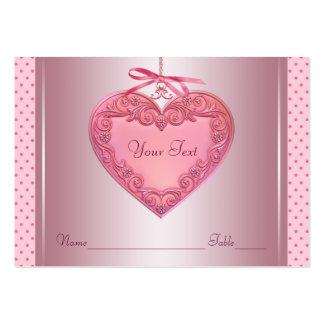 Tarjetas rosadas de la tabla del asiento del tarjetas de visita grandes