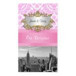 Tarjetas rosadas del acompañamiento del damasco de tarjeta personal