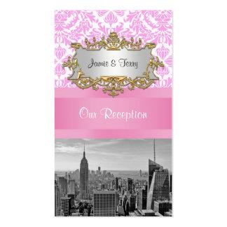 Tarjetas rosadas del acompañamiento del damasco de tarjetas de visita