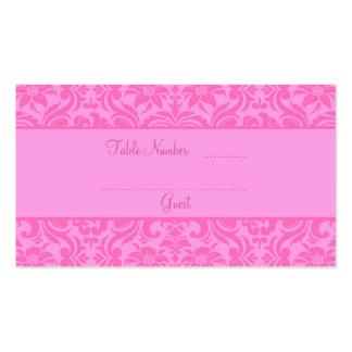 Tarjetas rosadas del lugar de la tabla de la recep tarjetas de negocios