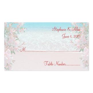 Tarjetas rosadas del lugar del boda de playa de la tarjetas de visita