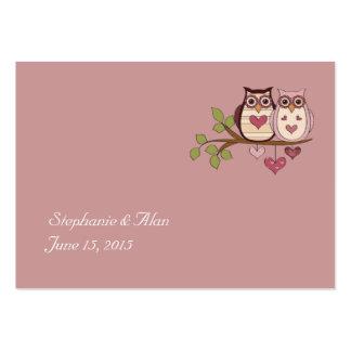Tarjetas rosadas del lugar del boda de Sweethoots Tarjetas De Visita Grandes