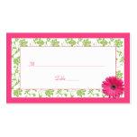 Tarjetas rosadas del lugar del boda del damasco de tarjeta de visita
