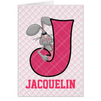 "Tarjetas rosadas del monograma ""J"" del Jackrabbit"