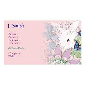 Tarjetas rosadas del negocio del perfil del coneji plantilla de tarjeta de negocio
