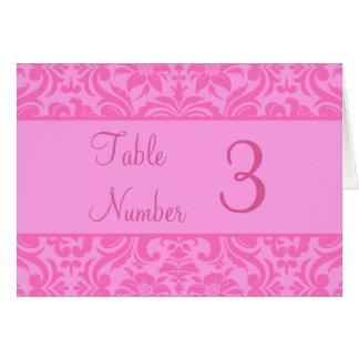 Tarjetas rosadas del número de la tabla de la