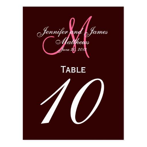 Tarjetas rosadas del número de la tabla del boda postal