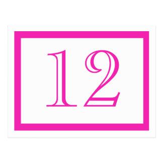 Tarjetas rosadas del número de la tabla postal