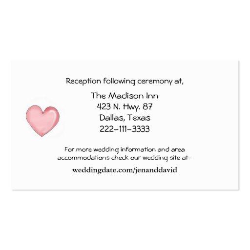 Tarjetas rosadas del recinto del boda del corazón tarjetas de visita