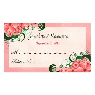 Tarjetas rosadas florales del lugar de la tabla tarjetas de visita