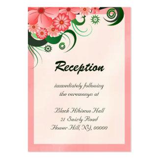 Tarjetas rosadas florales del recinto de la tarjetas de visita grandes