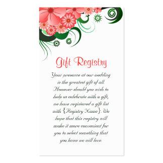 Tarjetas rosadas florales del registro de regalos tarjetas de visita
