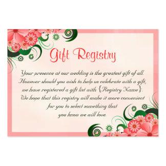 Tarjetas rosadas florales del registro de regalos tarjetas de visita grandes