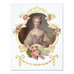 Tarjetas rosadas jovenes de los rosas de la reina comunicado personalizado