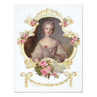 """Tarjetas rosadas jovenes de los rosas de la reina invitación 4.25"""" x 5.5"""""""