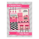 Tarjetas rosadas retras de la receta de la cocina tarjeta de visita