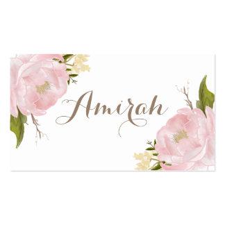 Tarjetas rosadas románticas del lugar de la tarjetas de visita
