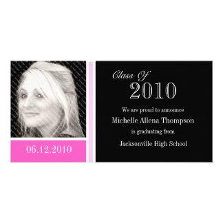Tarjetas rosadas y negras de la foto de la tarjetas personales con fotos