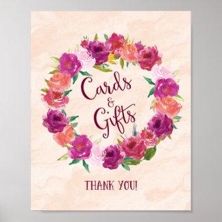 Tarjetas rosadas y regalos de los rosas que casan póster
