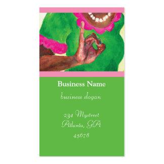 Tarjetas rosadas y verdes de la hermandad de mujer tarjeta personal