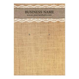 Tarjetas rústicas de la exhibición de la arpillera tarjetas de visita grandes