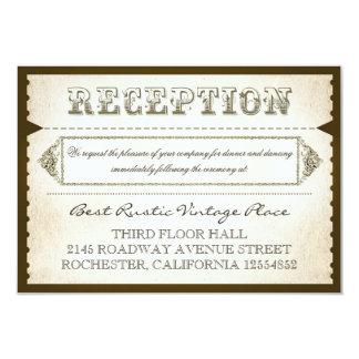"""tarjetas rústicas de la recepción del vintage - invitación 3.5"""" x 5"""""""