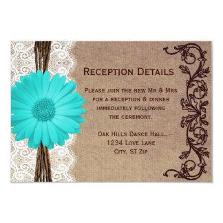 Tarjetas rústicas de la recepción nupcial de la invitaciones personales
