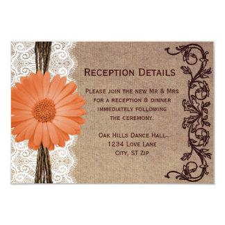 Tarjetas rústicas de la recepción nupcial de la invitacion personal