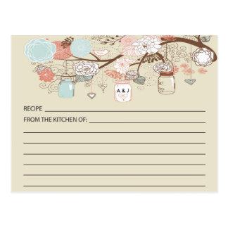 Tarjetas rústicas de la receta del tarro de postal