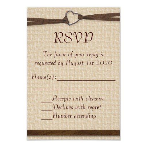 Tarjetas rústicas de RSVP de la cinta del corchete Invitación 8,9 X 12,7 Cm