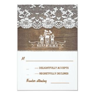 tarjetas rústicas de RSVP de los tarros de madera Invitación 8,9 X 12,7 Cm
