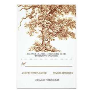 """tarjetas rústicas de RSVP del árbol que se casan Invitación 3.5"""" X 5"""""""