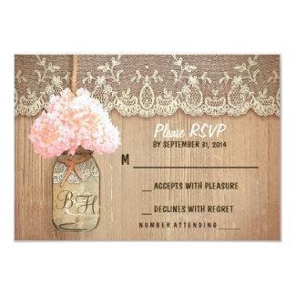 tarjetas rústicas de RSVP del tarro de albañil del Invitación Personalizada