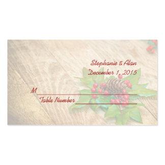 Tarjetas rústicas del lugar del boda del acebo del plantillas de tarjeta de negocio
