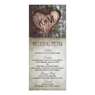 """Tarjetas rústicas del menú del boda del árbol del invitación 4"""" x 9.25"""""""