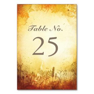 Tarjetas rústicas del número de la tabla de la