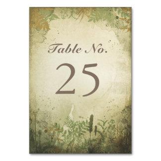 Tarjetas rústicas del número de la tabla del