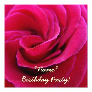 Tarjetas subiós rosa de la flor de la fiesta de comunicados personalizados